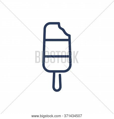 Delicious Ice Cream On Stick Thin Line Icon. Flavor, Milk, Sundae Isolated Outline Sign. Sweet Desse