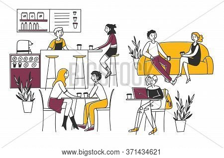 People Sitting In Cafe, Drinking Coffee And Working On Laptops Illustration. Men And Women Coworking