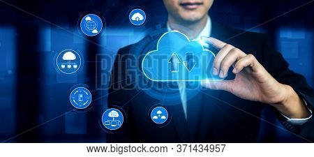 Cloud Computing Technology And Online Data Storage For Business Network Concept. Computer Connects T