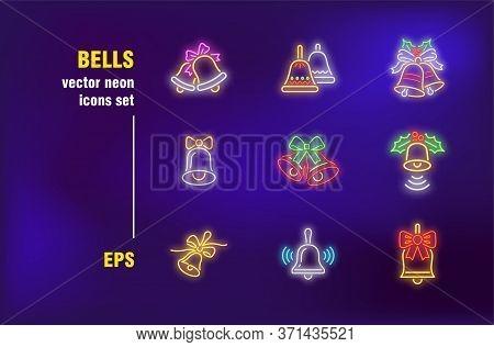 Bells Neon Signs Set. Christmas Ornament, Bauble With Bow, Mistletoe, Alarm Symbol. Night Bright Adv