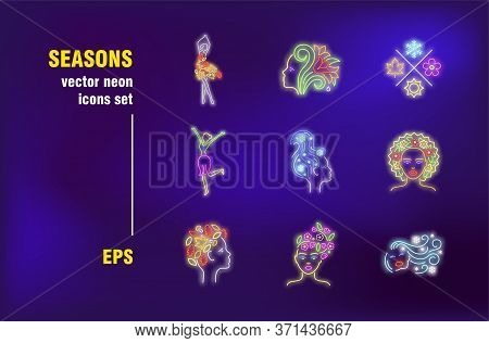 Seasons Neon Signs Set. Woman With Spring, Summer, Autumn And Winter Hairstyle. Night Bright Adverti