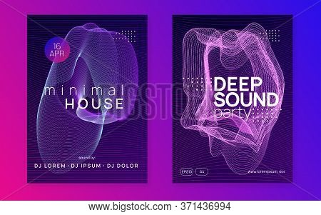 Electronic Event. Curvy Show Invitation Set. Dynamic Fluid Shape And Line. Neon Electronic Event. El