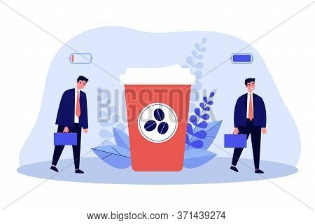 Office Worker Charging His Battery With Coffee Energy. Business Man Walking Near Takeaway Coffee Cup