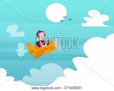 Child Pilot - Cartoon Boy Piloting A Yellow Airplane Flying In Blue Sky