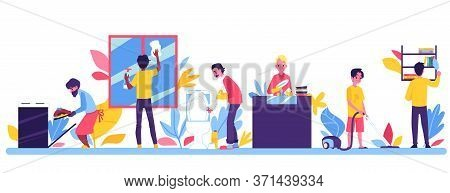 Male In Householding Routine Cleaning His House Vector Illustration Isolated.