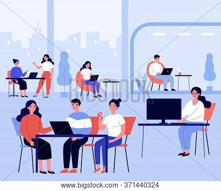 Co-working Place Concept. Office People Using Computers At Workplaces, Tea, Meeting Together. Flat V