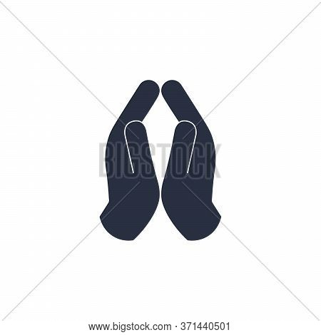 Silhouette Of Prayer Hands. Praying To God. Faith Act. Repentance Icon. Stock Vector Illustration Is