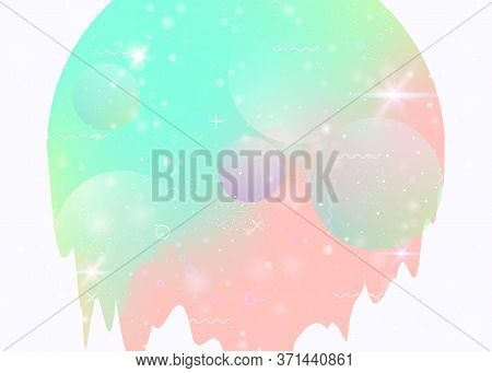 Holographic Background With Abstract Cosmos Landscape And Future Universe. Colorful Mountain Silhoue