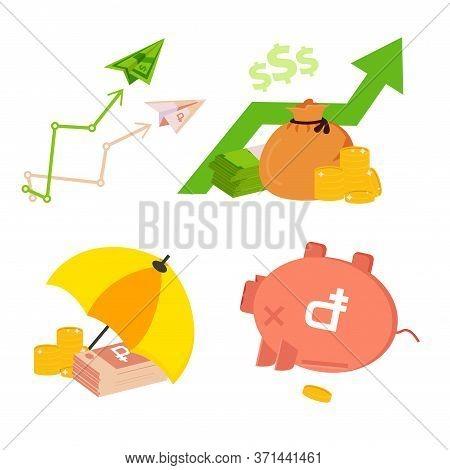 Design Concept Of Money Exchange For Leaflet, Annual Report, Presentation. Vector Set Of Money Excha