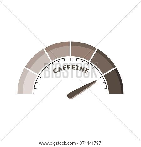 Scale With Arrow. The Caffeine Measuring Device. Sign Tachometer, Speedometer, Indicator.
