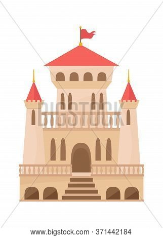 Medieval Castle Renaissance. Palace Beige Color With Three Towers Openwork Balconies Red Roof Flag E