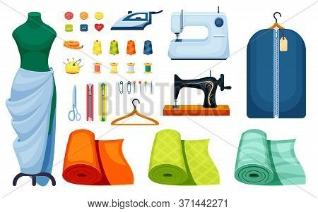 Supplies Sewing Set. Sewing Machine White Iron Centimeter Singer Hanger Scissors Mannequin Roll Fitt