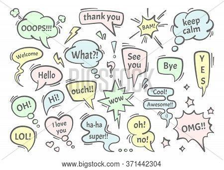 Speech Bubble Dialogs Set. Colored Conversational Drawn Message Thoughts Chat Comics Dialog Cloud Te