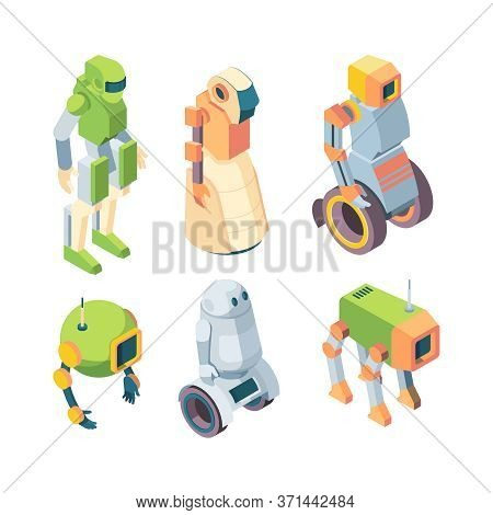 Technological Robots Helper Future Isometry Set. Robotic Humanoid Green Cyborg On Wheels Chassis Rob