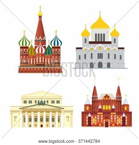 Sights Of Moscow Vector Illustration Set. Moscow Architecture Historical Famous Beautifull Objects.