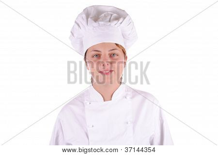 young female chef in uniform
