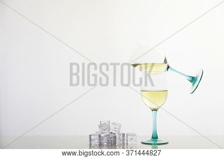 White Wine And Ice Cubes