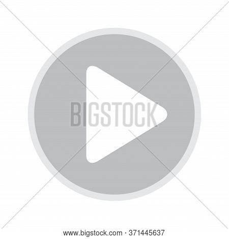 Play Icon For Media Isolated On White, Flat Button Play Video, Icon Play For Music And Video App, Si