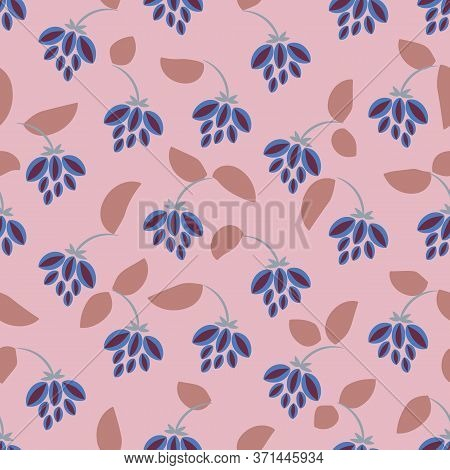Hanging Blue Flowers Seamless Vector Pattern. Girly Summertime Directional Surface Print Design. For