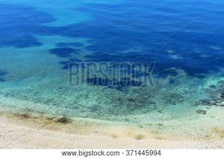 Horizontal Background Of Blue Sea. Tropical Landscape/ Calm Sea Texture/ Beautiful View On Clear Blu