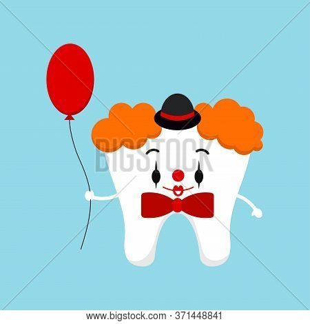 Tooth In Halloween Carnival Clown Costume Vector Icon. Cute Clown Tooth With Balloon And Bow Tie - D