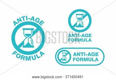Anti-age Formula Stamp - Emblem For Anti-aging Cosmetics Or Cosmetology Products Packaging - Crossed