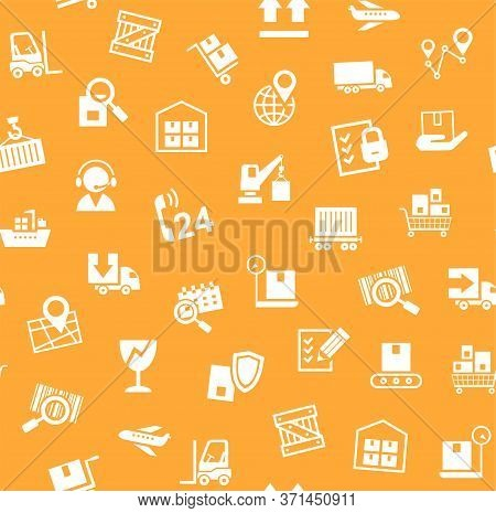 Cargo Delivery, Seamless Pattern, Orange, Vector.cargo Transportation And Delivery Of Goods. White I