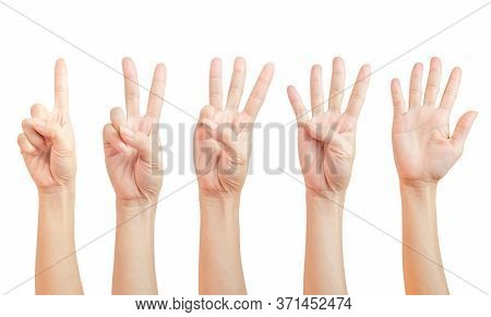 Women Hand Signs Are Counting. Using Fingers Symbol. Set Of Number One Two Three Four Five ( 1 2 3 4