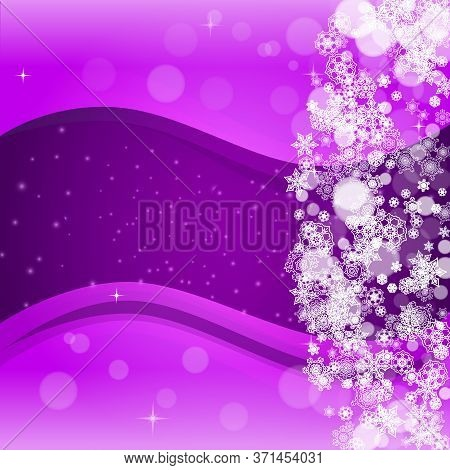 Xmas Sales With Ultra Violet Snowflakes. New Year Frosty Backdrop. Winter Frame For Gift Coupons, Vo