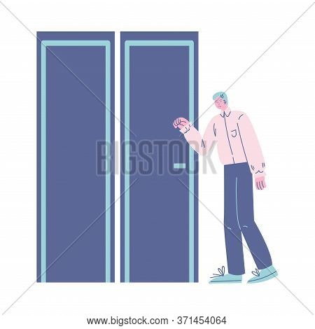Young Positive Man Standing In Queue, Waiting For His Turn And Knocking Door