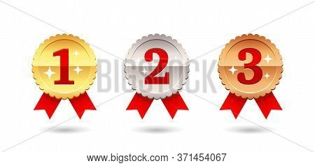 Gold, Silver And Bronze Medal - 1st, 2nd And 3rd Place Awards Set - Three Winning Places Isolatred V