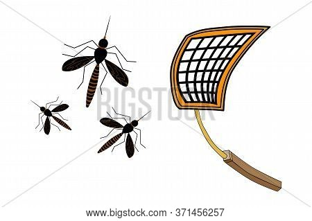 Fly Swatter With Mosquitos Isolated On White Background. Tool For Destruction Of Insects At Home. Ye