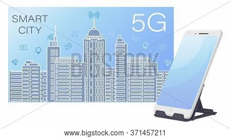 Smart City. 5g Wireless Network And Smart City Concept. Night Urban City With Things And Services Ic