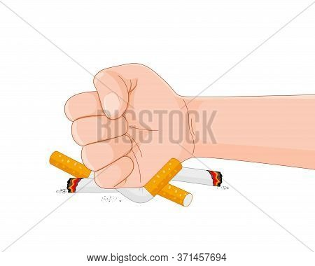 Stop Smoking Destroying Cigarettes. Quit Smoking Concept. World No Tobacco Day. Vector Illustration.