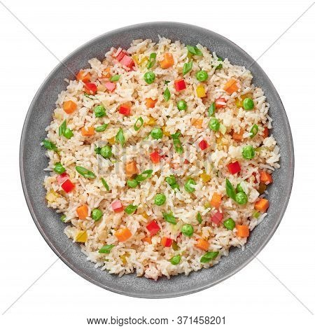 Veg Fried Rice In Gray Bowl Isolated On White Backdrop. Veg Fried Rice Is Indo Chinese Cuisine Dish.