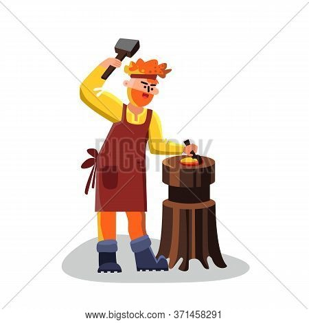 Blacksmith Worker With Hammer Forge Iron Vector