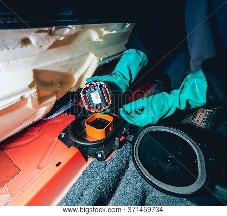 Replacing Fuses In The Fuse Box Of The Car. Car Repair.
