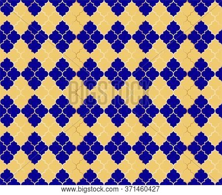 Arabic Mosque Vector Seamless Pattern. Argyle Rhombus Muslim Fabric Background. Traditional Mosque P