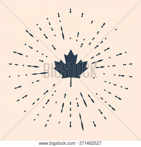 Black Canadian Maple Leaf Icon Isolated On Beige Background. Canada Symbol Maple Leaf. Abstract Circ