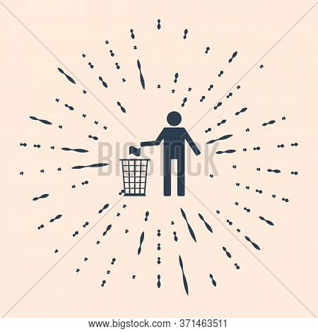 Black Man Throwing Trash Into Dust Bin Icon Isolated On Beige Background. Recycle Symbol. Abstract C