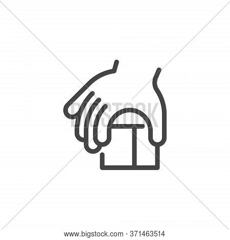 Thin Outline Icon Children Hand And Block, Such Line Sign As Fine Motor Skills, Learning Educational