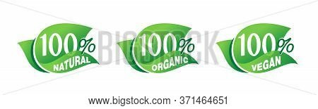 100 Natural, 100 Organic, 100 Vegan - Tag For Healthy Food, Vegetarian Nutrition In Leaf Shape - Vec