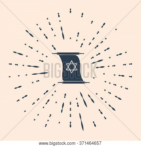 Black Torah Scroll Icon On Beige Background. Jewish Torah In Expanded Form. Torah Book Sign. Star Of
