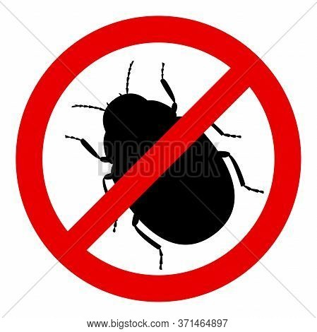 Black Silhouette Of The Colorado Potato Beetle On A White Background. Stop Sign