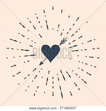 Black Amour Symbol With Heart And Arrow Icon Isolated On Beige Background. Love Sign. Valentines Sym