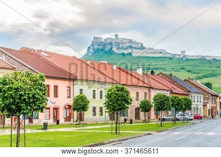 Spisske Podhradie,slovakia - June 8,2020 - View At The Street Of Spisske Podhradie Town With Spis Ca