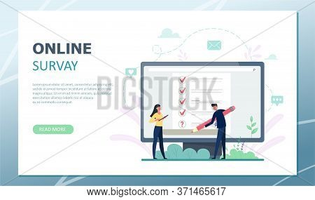 Landing Page Survey Vector Illustration. Concept Of Flat Mini Persons With Quality Control And Satis