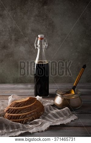 Homemade Tradishional Russian Kvass With Leaven And Bread On Napkin. Wonderful Healthy Refreshing Dr
