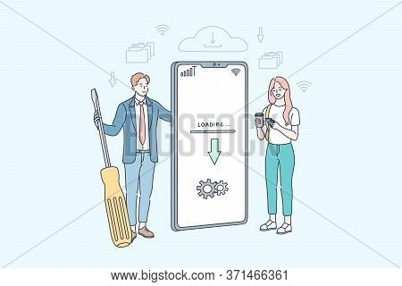 Downloading, Service, Program, Update, Repair, Business Concept. Woman User Stands With Businessman