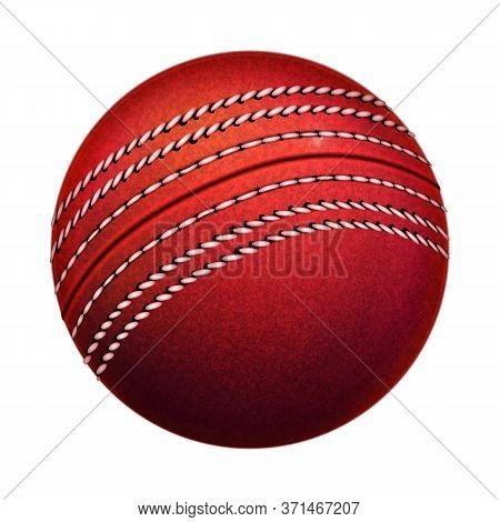 Cricket Leather Ball Sportive Equipment Vector. Red Cricket Sport Tool With Circle Stitch. Team Play